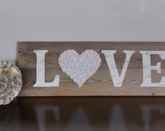 Large Rustic Barn wood LOVE sign, Farmhouse sign, Rustic Home Decor, LOVE sign, Reclaimed wood sign, wedding decor, Fabric Flower Rosettes