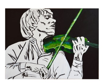 Violinist portrait, soothing art 18x24