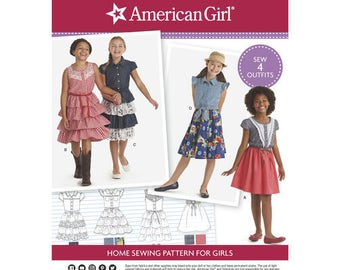 Sewing Pattern American Girl Child's Dress, American Girl Doll Designs, Western Style Dresses, Simplicity Pattern 8350, Matching Doll Avail