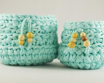 Pair of aquamarine baskets crochet cotton-handmade wooden décor-containers, Miscellany, tray