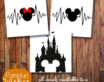 DISNEY Decal/Disney Heartbeat Decal/Disney Castle/Disney car decal/His and Hers Disney Decals/Disney Yeti decal/Laptop decal/Yeti Cup