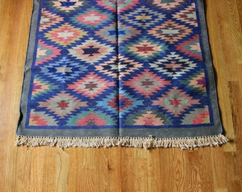 Indian Dhurrie Rug 3x5 Bohemian Detailed Vibrant Rustic Full Patterned Playful Vintage Earthy Hipster Double Sided Area Rug Flatweave
