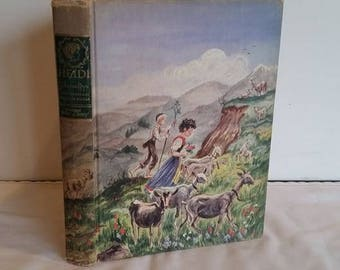 Vintage Hardcover Heidi, Children's Book, 1945, Johanna Spyri, Illustrated by William Sharp, Girl Book, Classic Story, Nursery