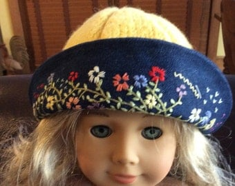 Hand knitted and felted hat with hand embroidery brim for AG dolls