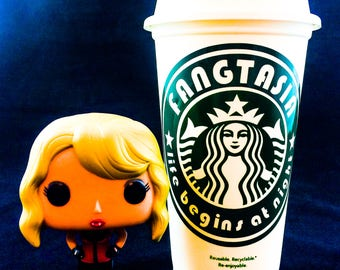 "True Blood inspired ""Fangtasia, life begins at night"" Starbucks Travel Cup"