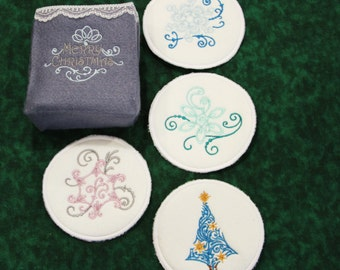 Embroidered Coasters for the Christmas Season