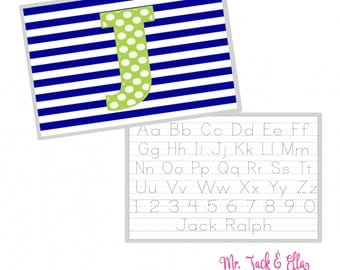 Blue and Green Polka Dot Alphabet Placemat - Personalized Placemat - Children's Placemat - Child Placemat - Laminated Placemat