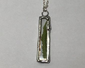 Sale,Glass Terrarium Pendant, Fern Glass Pendant, Soldered Glass Pendant, Pressed Flower Jewelry, Real Plant Jewelry, Nature Jewelry