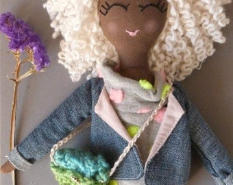Rag doll, gift, girl, ooak, done hand, recycling,
