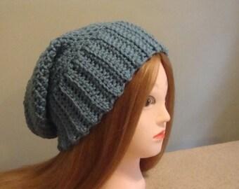 Women's Blue Slouchy Hat, Blue Slouchy Hat, Slouch Hat, Blue Winter Hat, Womens Blue Slouch Hat, Blue Slouch Hat, Womens Winter Hat