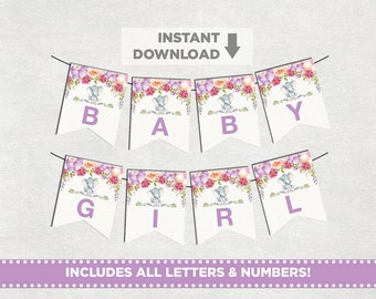 Elephant Baby Shower Printable Banner. ALL LETTERS & NUMBERS. Purple Floral Pennant Flags. Bunting. Lavender Baby Shower Party. PUR1