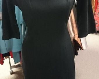 1950's Black Wool Wiggle Dress with Fringe Collar