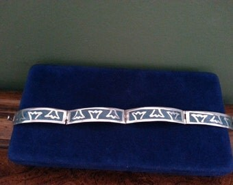 Vintage Sterling Silver with Inlay Turquoise Bracelet