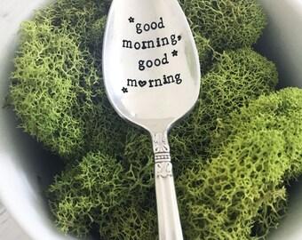 Good Morning Good Morning Spoon w/ Heart & Stars, Hand Stamped Spoon, Vintage, Coffee Spoon, Tea Spoon, Gift, Present, Birthday, Sweet Mint