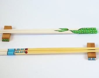 Alice in Wonderland and Mermaid Chopsticks Bamboo Wooden Japanese / Korean - Handpainted unique and cute gift for sushi lover!
