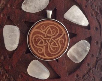 Triquetra Celtic Symbol - Laser Engraved Wood Pendant Necklace - protection, pagan, wicca, witch.