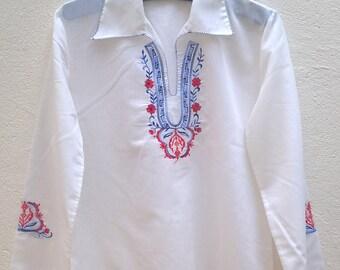 Vintage boho embroidered blouse Size 40 FR