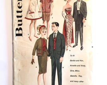 Butterick Vintage 1960s Barbie and Ken Dress Clothes Pattern #2519