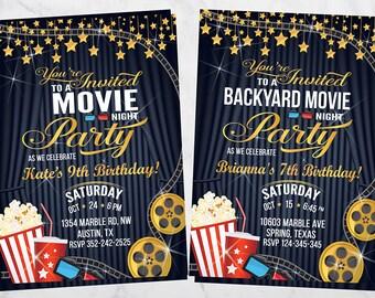 Movie Night  Invitation, Movie Night Birthday Invitations, Movie Night Invitations, Movie Night Party, Movie Night Invites, Movie Night,