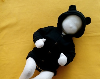 Black baby bear hoodie - Hooded sweat-shirt with bear ears -  NB