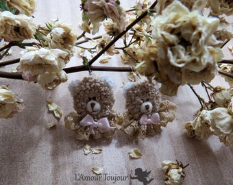 Teddy bears Textile Hand Embroidered Lace Earrings