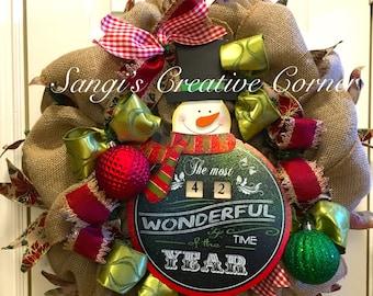 Christmas Wreath, Holiday wreath, front door wreath, Christmas decorations, Xmas decorations, Wreaths for Christmas, Winter Wreath, Snowman