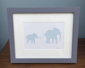 Elephants Wall Art Framed for Nursery, New baby, Christening or Birthday present gift