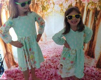 Dress girls size 122 organic Jersey by Finch fabric flower