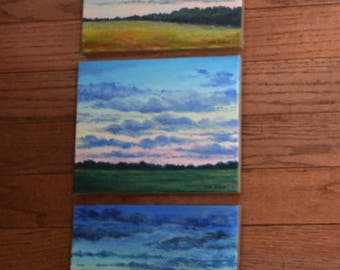 3 panel triptych Sunset Paintings