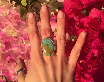 Women's Turquoise Ring. Handmade Sterling Silver.