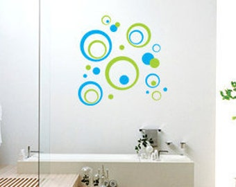 Abstract Circles of all sizes wall graphics design-decorative vinyl art decal, removable sticker-living room, bathroom, bedroom, office - 02