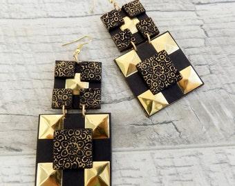 Fashion cross earrings Statement earrings Gold & Black earrings Square Large earrings Dangle large earrings Trendy jewelry