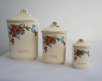 Pots à épices en faïence, cuisine vintage, French vintage