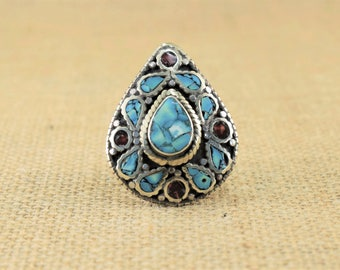 Tibetan ring, ethnic petal turquoise and carnelian