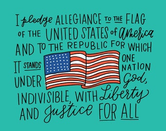 The Pledge of Allegiance Illustration Print
