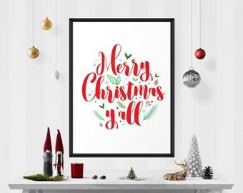 Merry Christmas y'all Printable, Christmas Wall Art, Merry christmas, christmas quote, Christmas Sign, Christmas Wall Art, holiday print