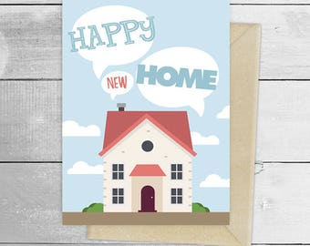 Happy new home, new house greeting card