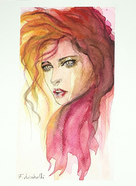Woman,portrait,pink face,watercolor,ooak,15x20 cm./6x8 inc.,gift idea,wall art,home decoration,living,birthday, wedding,anniversary.