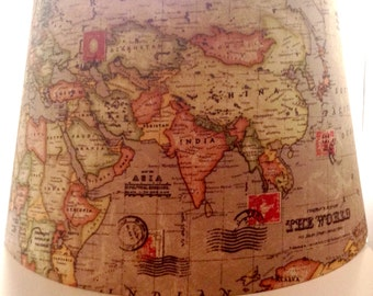 Vintage World Map Lampshade Taupe