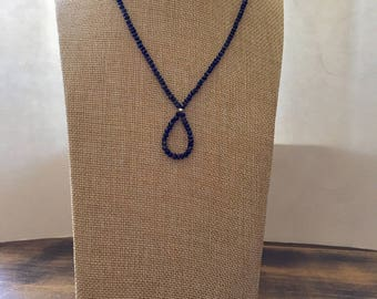 "Lapis Lazuli Beaded Loop Necklace, 17"" and 1"" drop"