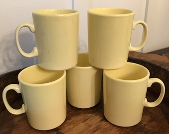 Vintage USA Pottery Pastel Yellow Coffee Mugs Set of 5