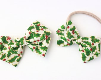 Baby Girl, Toddler, Girls Fabric Bow, Newborn, Hand tied bow- Holly Berry