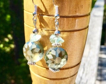 Etched Glass Earrings - Green Glass Earrings - Glass Dangle Earrings - Green Dangle Earrings - Glass Earrings - Beaded Earrings
