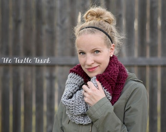 READY TO SHIP, Two Toned Crochet Cowl (Burgundy & Grey), Crochet Scarf, Infinity Scarf