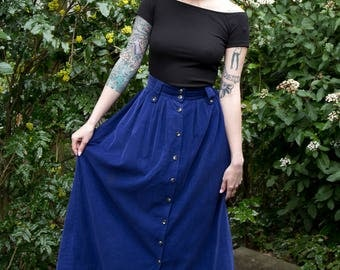 VINTAGE 1980s Bryn Connelly Blue Buttonup Corduroy Skirt
