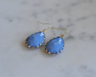 Blue and Gold Earrings, Blue Stone Earrings, Drop Earrings