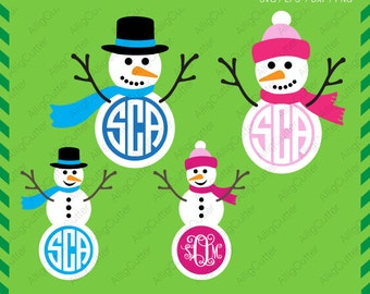 Christmas Snowman svg Circle Monogram Frames SVG DXF PNG eps xmas Cut Files for Cricut Design, Silhouette studio, Digital download