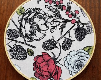 Floral Stitched Embroidery Hoop Art