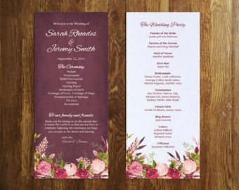 Floral Wedding Program Template, Editable Wedding program, Instant Download Wedding Program, Burgundy, Plum, Roses, Blush, Autumn, PPS04