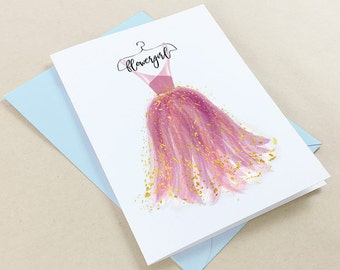 Will you be my flower girl card, flower girl proposal, bridal party card, lavender, purple, gold, 5x7,